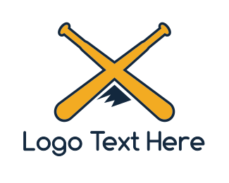 Baseball - Yellow X Mountain Bat logo design