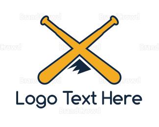 Bat - Yellow X Mountain Bat logo design