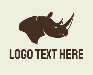 Rhinoceros - Brown Rhino logo design