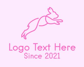 Woodland Animal - Pink Bunny Rabbit logo design
