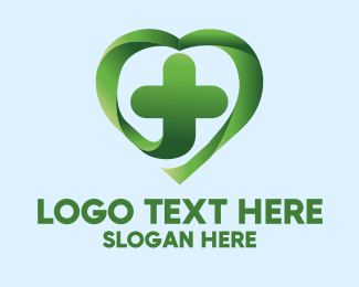 Health Care Worker - Green Cross Heart logo design
