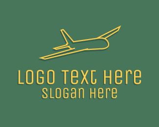 Pilot Training - Yellow Aircraft Outline logo design