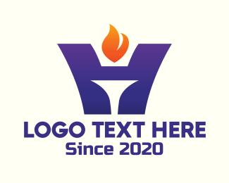 Torch - Torchbearer Letter H logo design