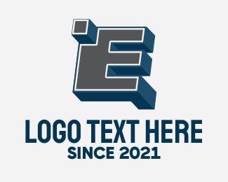 Blocky - 3D Graffiti Letter E  logo design