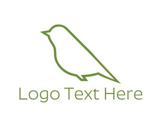 Sparrow - Green Bird logo design