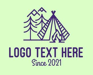 Camp - Campfire Camping Tent logo design