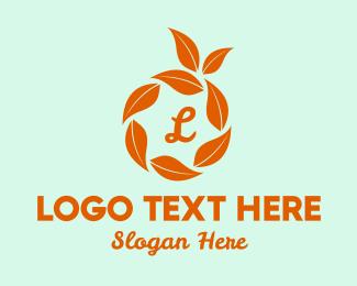 Orange Juice - Orange Leaves Lettermark logo design