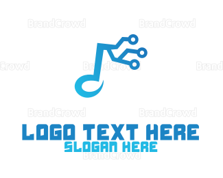 Musician - Music Note Circuit logo design