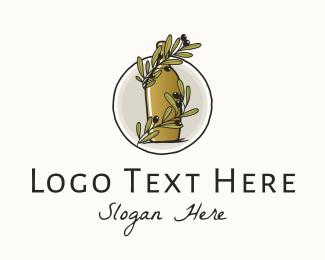 Produce - Organic Olive Oil Bottle logo design