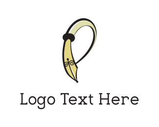 Publisher - Curved Pen logo design