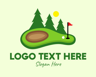 Pine Trees - Lawn Golf Course logo design