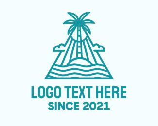Island Living - Tropical Island Palm Tree logo design