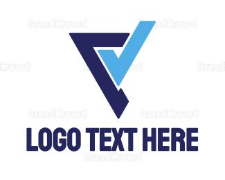 Approval - Blue Stroke V logo design