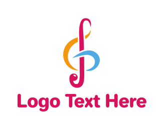 Instrumental - Colorful G Clef logo design
