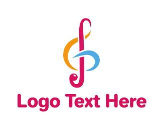 Orchestra - Colorful G Clef logo design