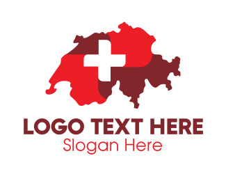 Switzerland - Red Switzerland Map logo design