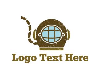 Diver - Vintage Diving logo design