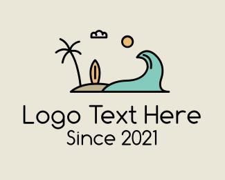 Swimming - Surfing Surf Beach Wave logo design