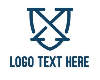 Shield - Blue X Shield Outline logo design