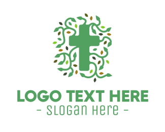 Vine - Green Vine Christian Cross logo design