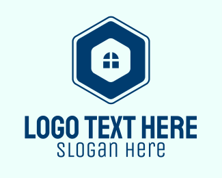 Window Cleaning - Blue Window Hexagon logo design