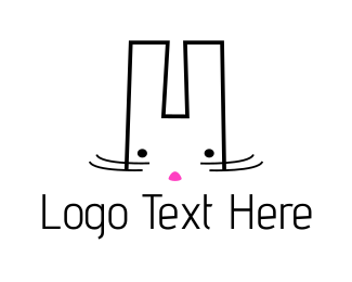 Bunny - Cute White Bunny logo design