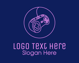 Gamepad - Neon Pink  Arcade Game Controller  logo design