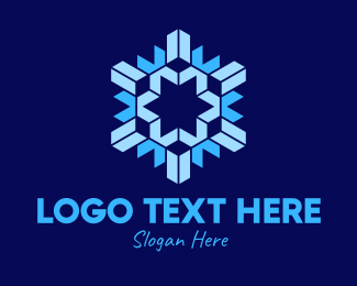 Crafty - Geometric Papercut Snowflake logo design