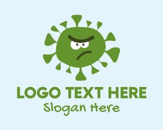 Green Virus - Angry Coronavirus Mascot logo design