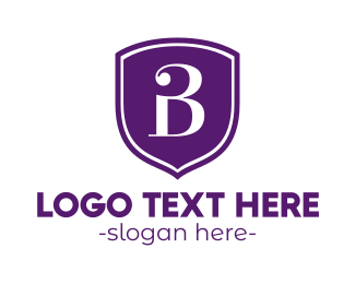 Purple Shield - Purple B Shield logo design