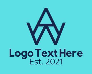 Wa - Blue AW Monogram logo design