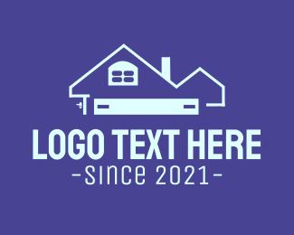 Roof Repair - Blue Realty House logo design
