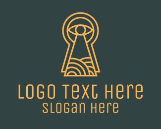 Specs - Orange Keyhole Eye logo design