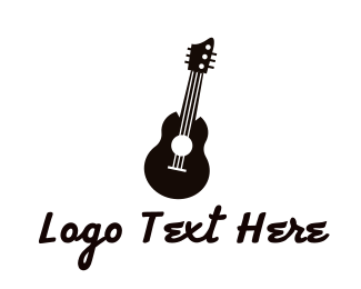 Acoustic - Black Acoustic Guitar Band logo design