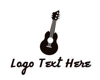 Acoustic - Black Acoustic Guitar Band logo design