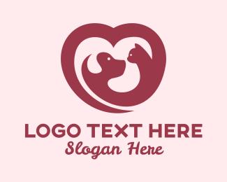 Domestic - Cat Dog Love  logo design