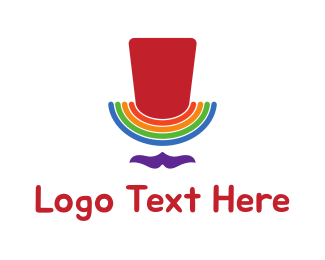 Lgbti - Rainbow Gay Man Top Hat logo design