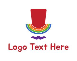 Funny - Rainbow Gay Man Top Hat logo design