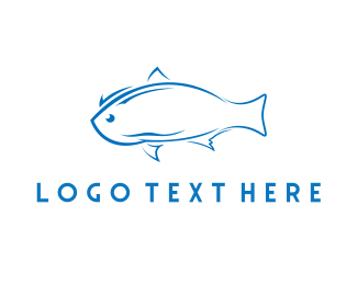 Fish And Chips - Blue Fish logo design
