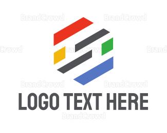 Ck - Hexagon Stripe S logo design