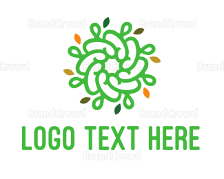 Buddhism - Spiral Green Flower logo design