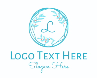 Foliage - Blue Wreath Lettermark logo design