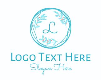 Twig - Blue Wreath Lettermark logo design