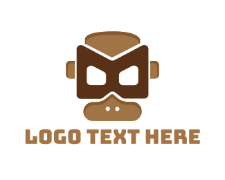 Gas Mask - Tribal Monkey Mask  logo design