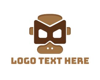 Chimpanzee - Monkey Mask  logo design