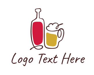 Alcohol - Beer & Wine logo design