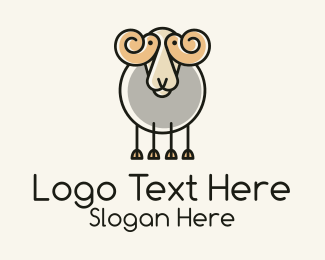 Cartoon - Cartoon Sheep Ram logo design
