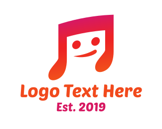 Note - Smiling Music Note  logo design