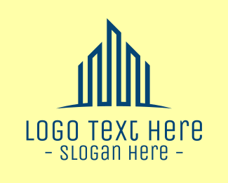 Construction - Blue Tower Skyscraper logo design