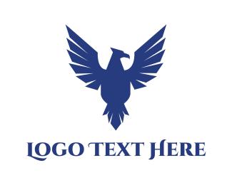 Falcon - Blue Flying Falcon logo design